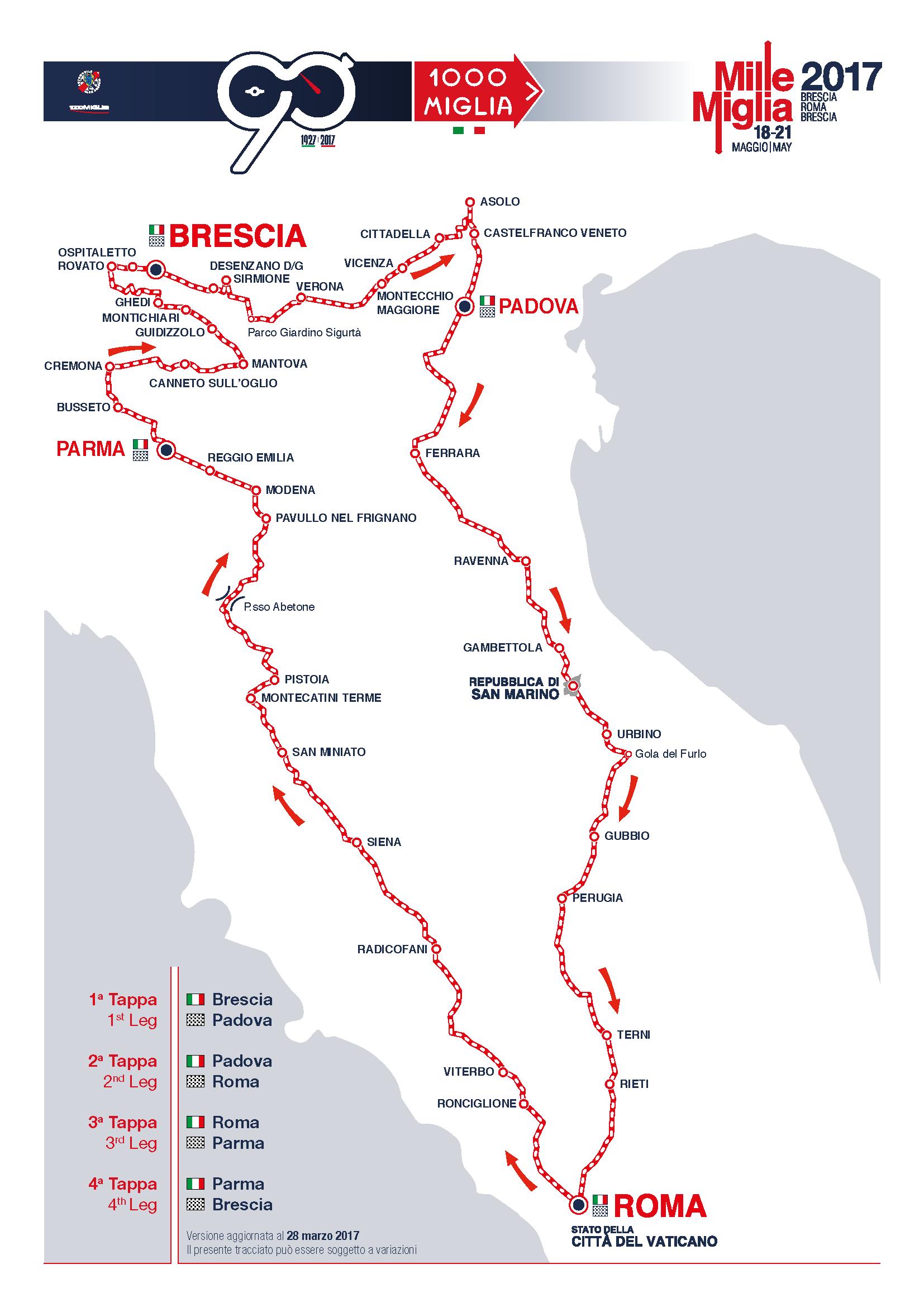 Карта Mille Miglia 2017
