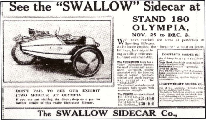 Вырезка из газеты про Swallow Sidecar model I Coupe Sports De-Luxe