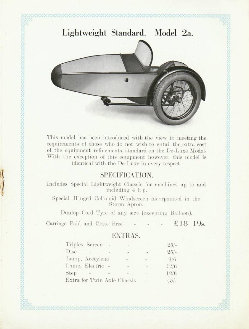 Swallow Sidecar model 2a вырезка из каталога 1928