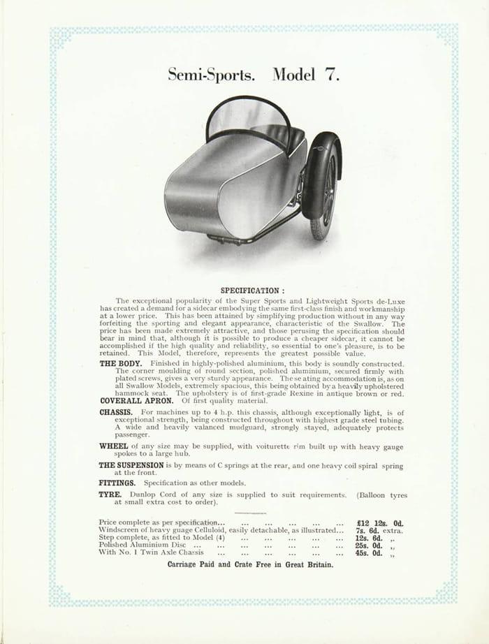 Swallow Sidecar model 7 характеристики