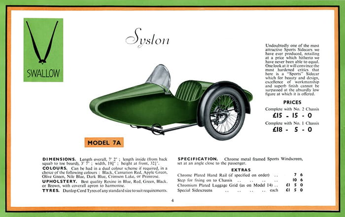 Swallow Sidecar model 7a Syston каталог 1935 года