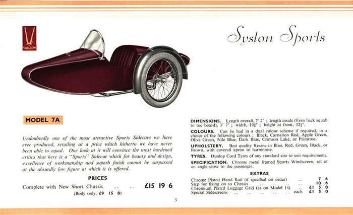 Swallow Sidecar model 7a Syston Sports каталог 1936 года
