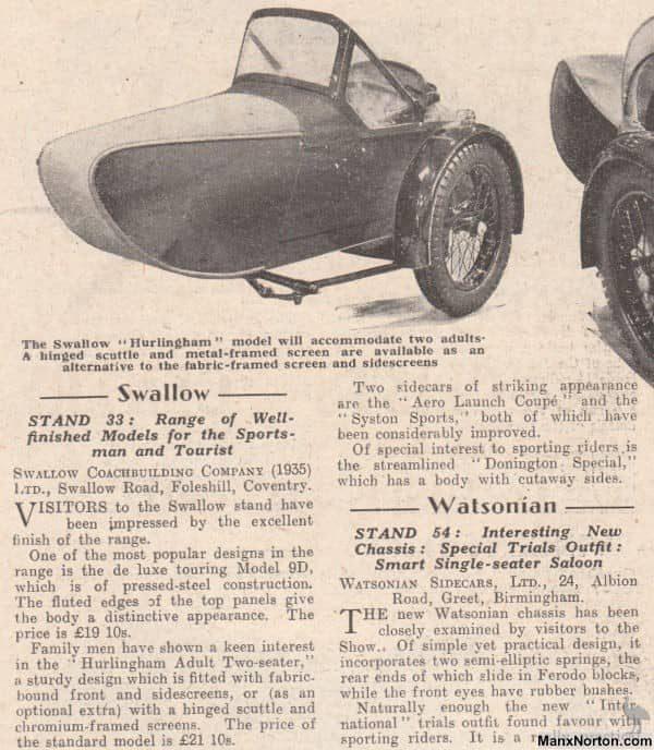 Swallow Sidecar model 8a вырезка из газеты 1937 года