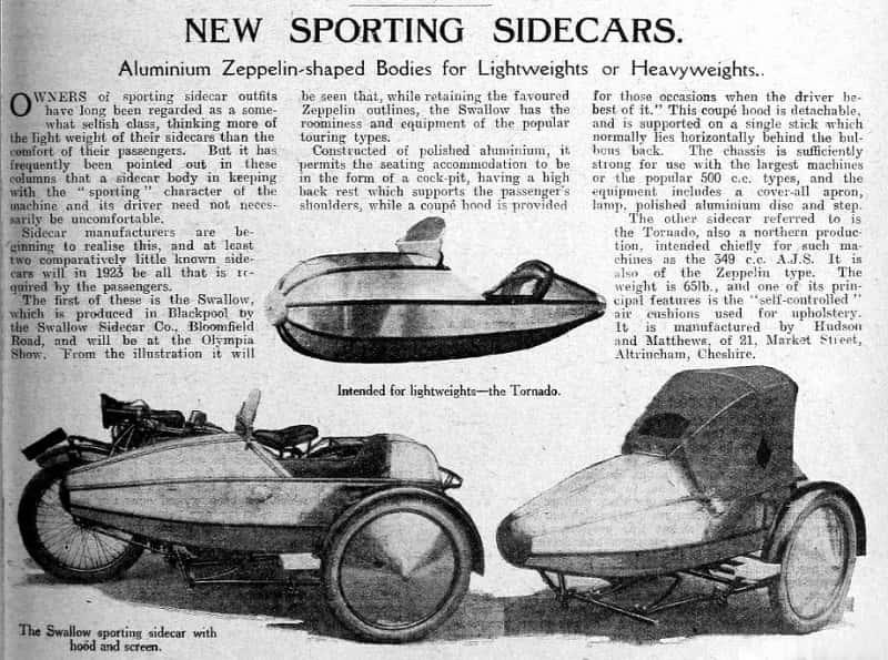 Газетная вырезка про Swallow Sidecar model I 1922 года