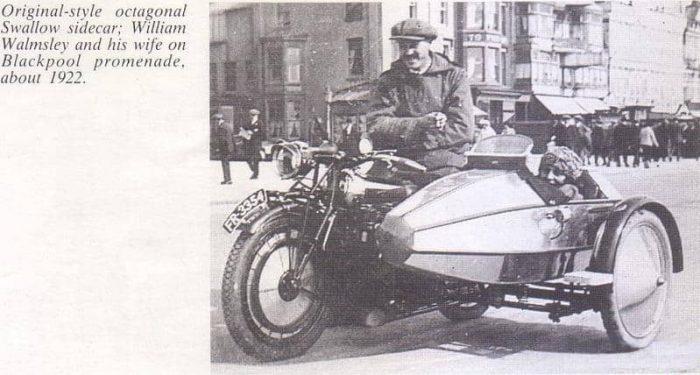 Уильям Уолмсли с женой на Swallow Sidecar model II