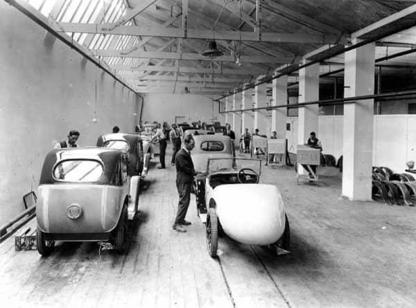 Производство Austin 7 Swallow на заводе