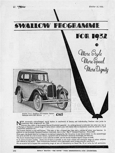 Austin 7 Swallow Sports Saloon брошюра 1931 года