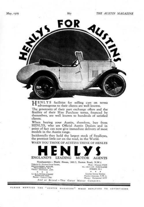 Брошюра Austin Swallow - май 1929
