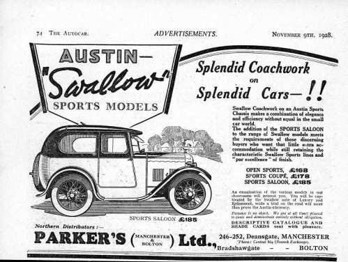 Austin Swallow Saloon брошюра 1928 года