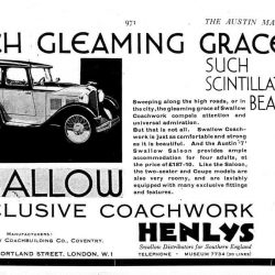 Austin Swallow Sports Saloon брошюра 1931 года