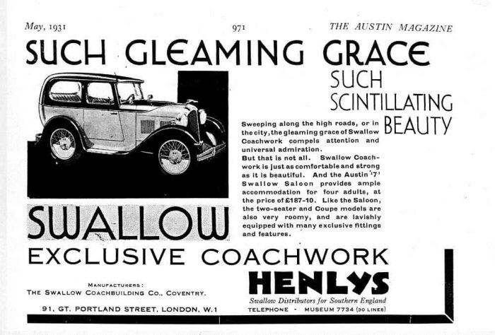 Austin Swallow Sports Saloon брошюра 1931 года