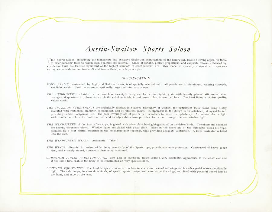 Austin Swallow Sports Saloon каталог 1929 года