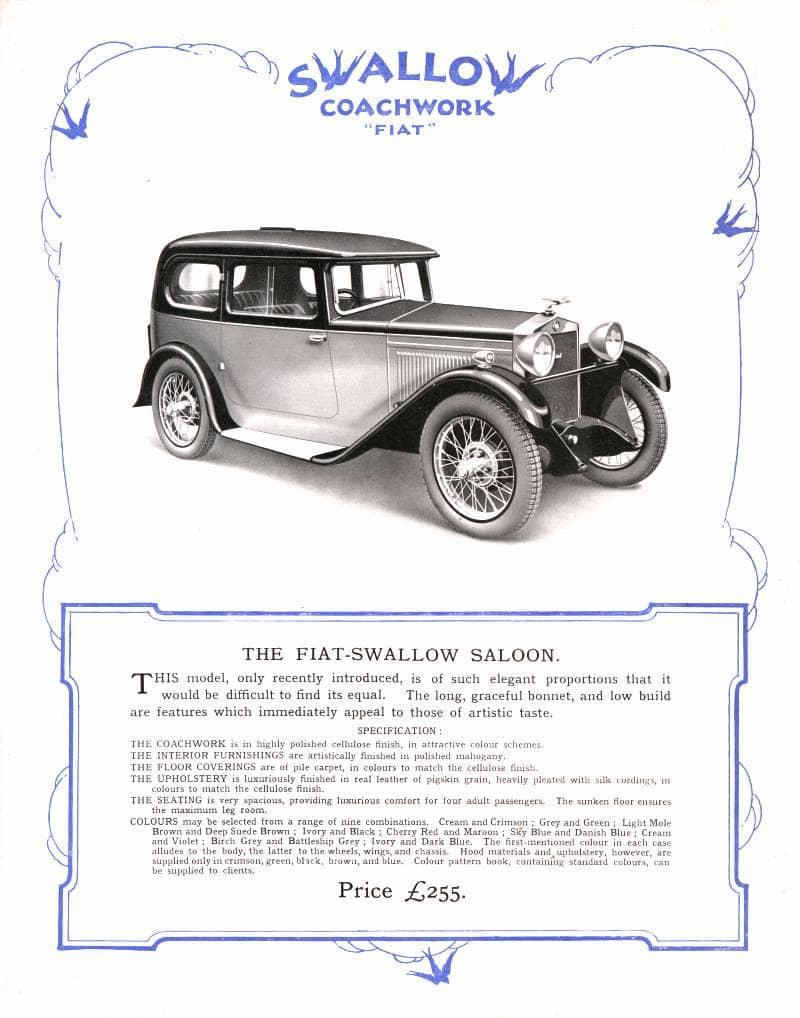 Fiat Swallow Saloon broshure