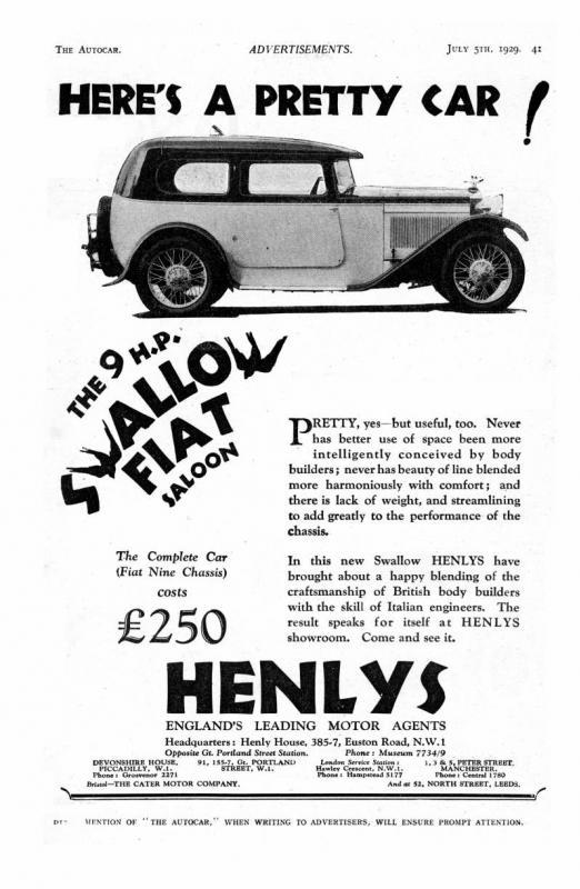 Swallow Fiat Saloon broshure 1929