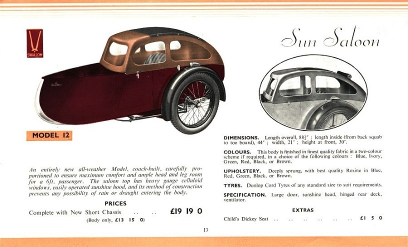 Swallow Sidecar model 12 Sun Saloon каталог 1936 года