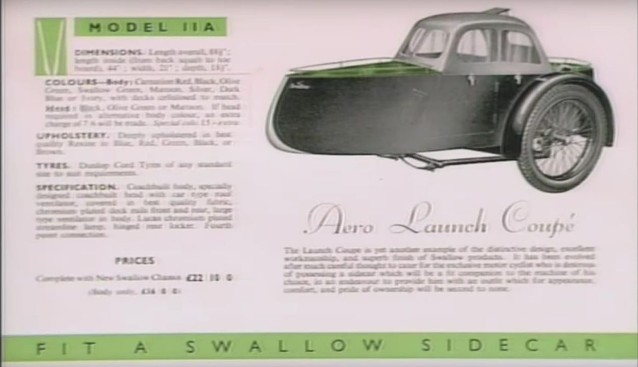 Swallow Sidecar model 11a Aero Launch Coupe каталог 1935 года