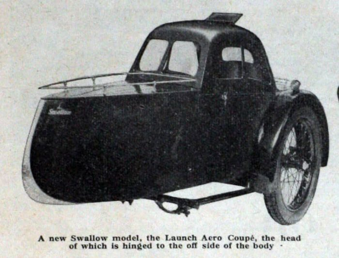 Swallow Sidecar model 11a Aero Launch Coupe вырезка из газеты