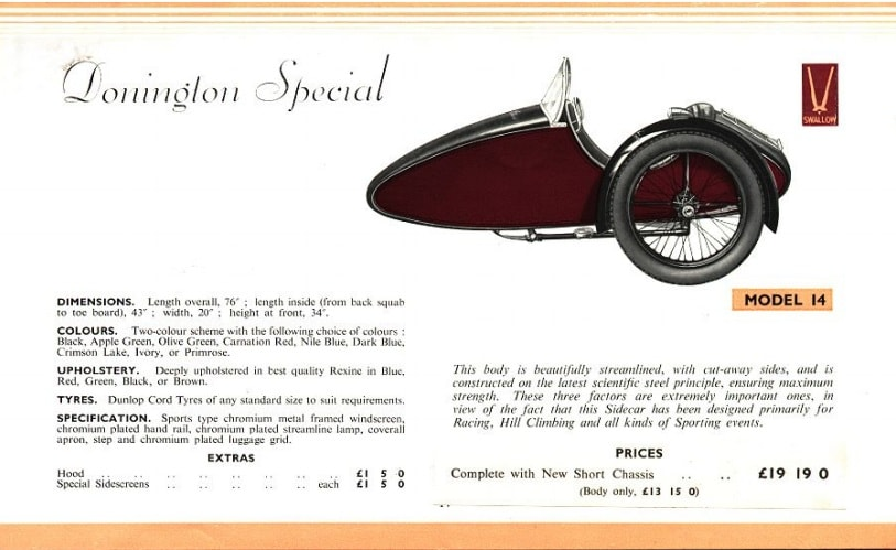 Swallow Sidecar model 14 Donington Special каталог 1936 года