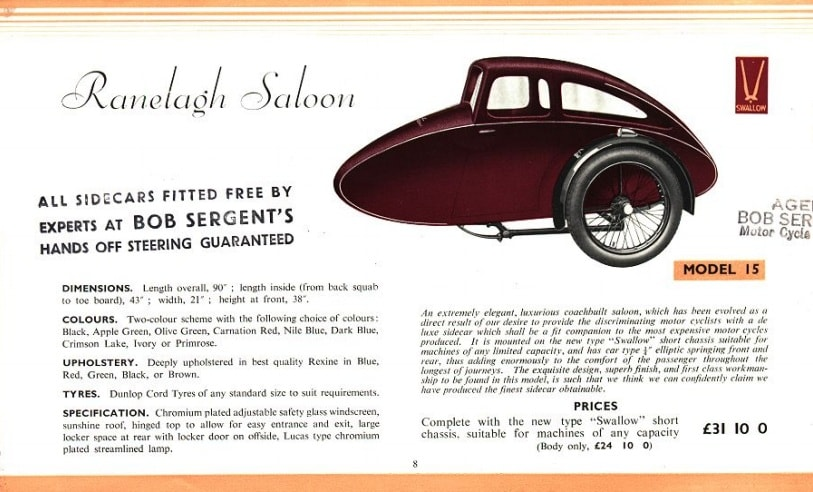 Swallow Sidecar model 15 Ranelagh Saloon каталог 1936 года