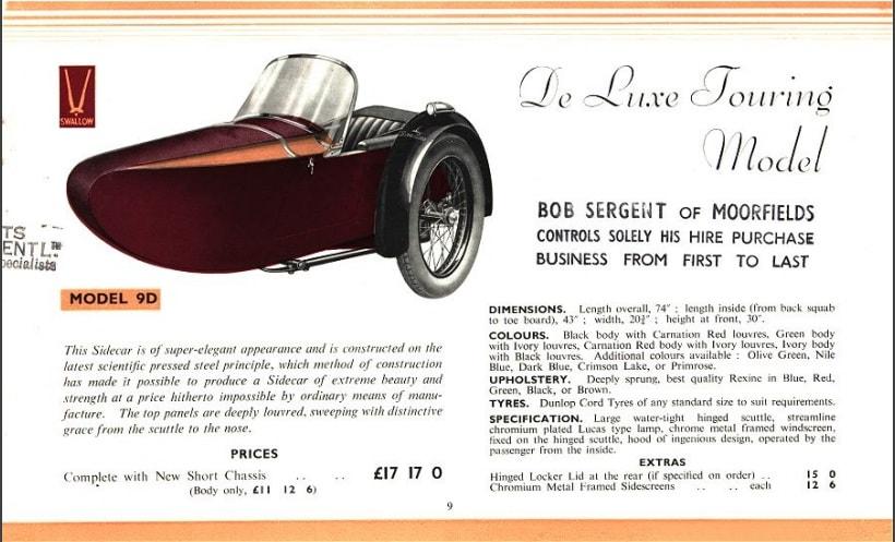 Swallow Sidecar model 9d De Luxe Touring Model каталог 1936 года