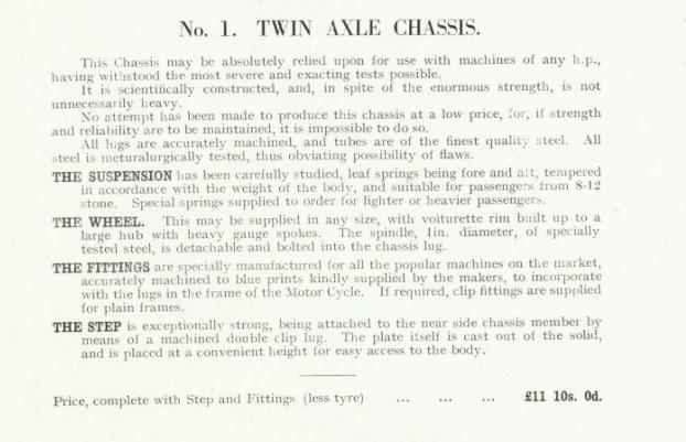 Swallow Sidecar No.1 Chassis - Шасси номер 1 в каталоге 1928 года
