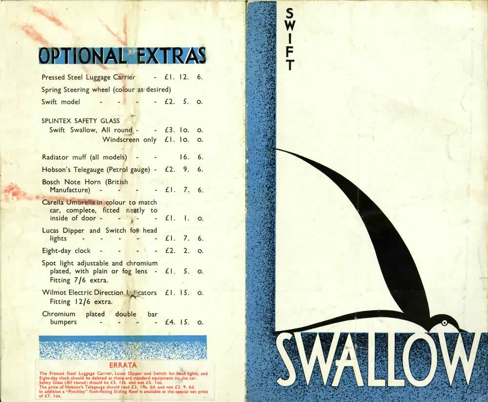 Swallow Swift Sports Saloon каталог 1930 года
