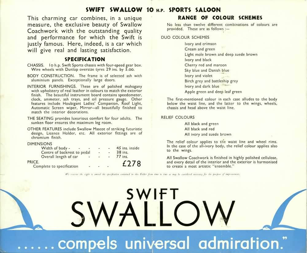 Swift Swallow Sports Saloon каталог 1930 года