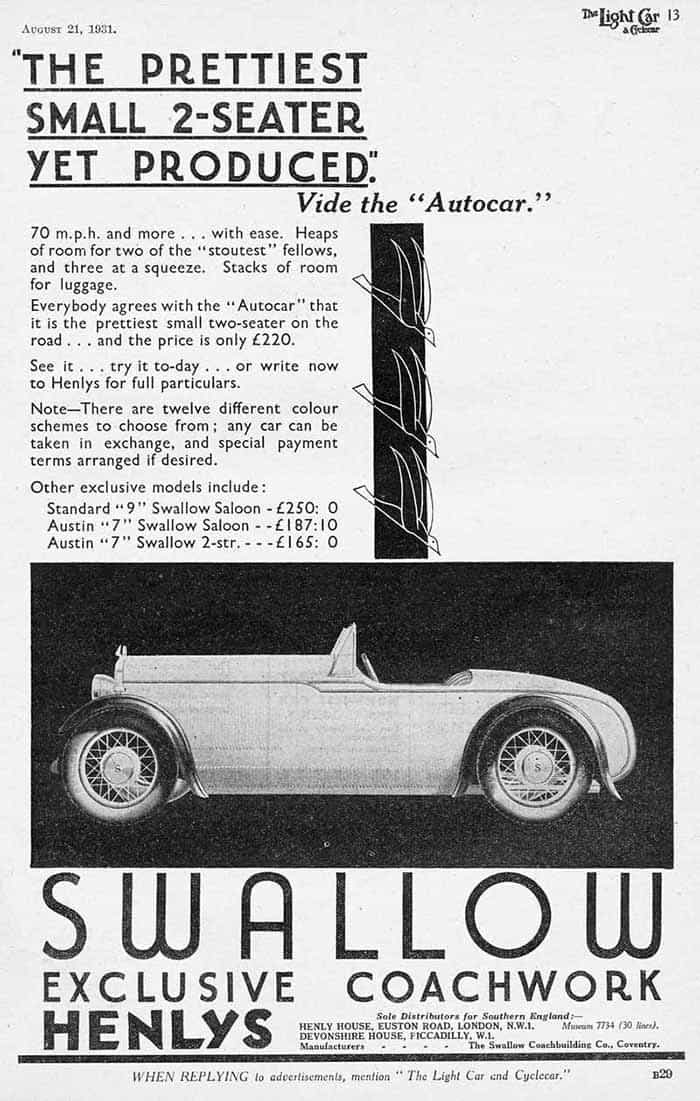 Wolseley Hornet Swallow 2 seater August 1931