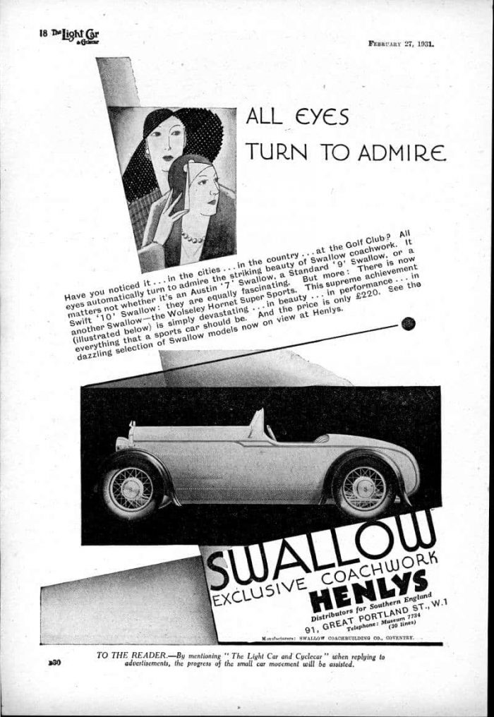 Wolseley Hornet Swallow 2-seater February 1931