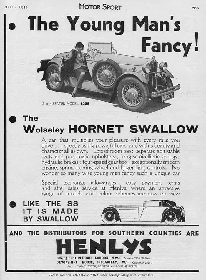 Wolseley Hornet Swallow April 1932