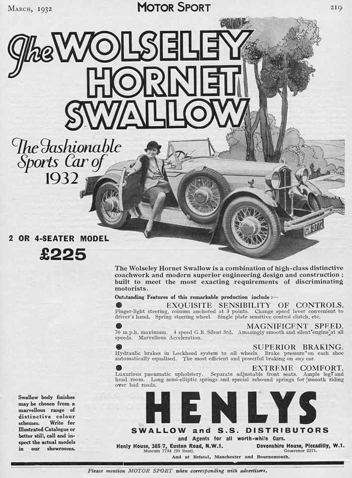 Wolseley Hornet Swallow March 1932