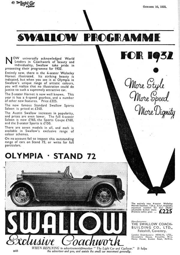 Wolseley Swallow October 1932