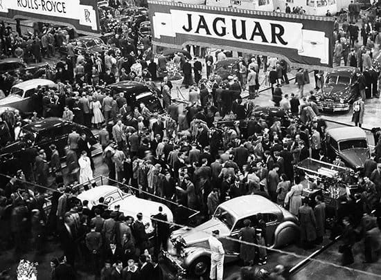 Jaguar XK120 in motor show 1949