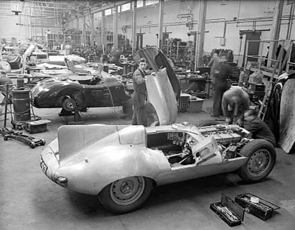 Jaguar D-Type in Browns Lane factory