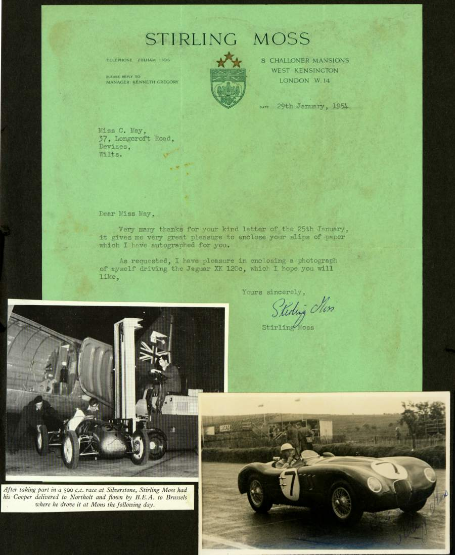 Signed original letter from Stirling Moss