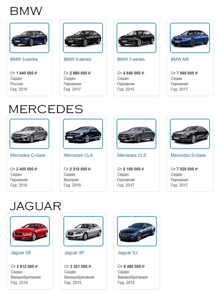 Сравнение цен на Jaguar, BMW, Mercedes - 2018