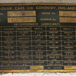 Jaguar E2A number table