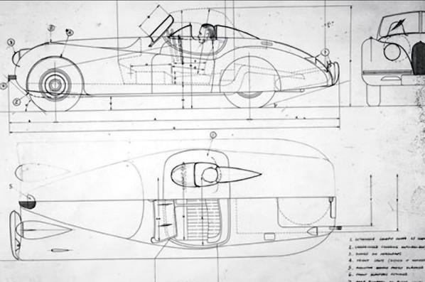 Jaguar XK120 Jabbeke Special sketch
