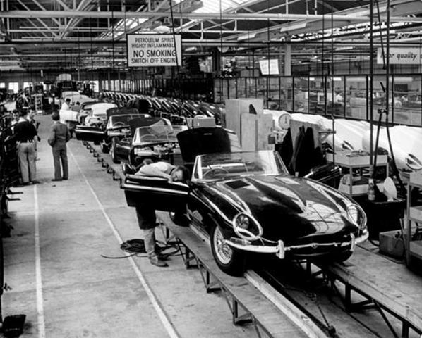 Jaguar E-Type (XK-E) at the factory