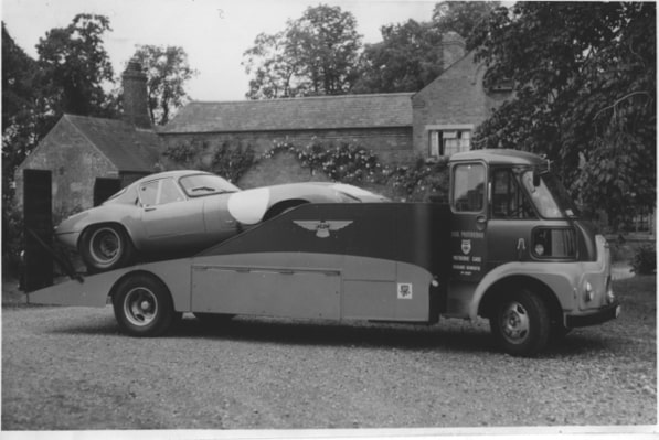 Dick Protheroe transporter with Jaguar E-Type Low Drag Coupe