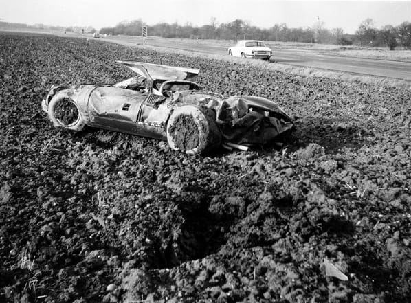 Jaguar XJ13 after crash in 1971