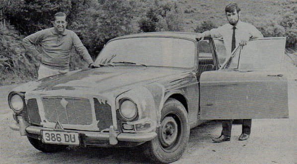 Engeneers Don Currie and Richard Cresswell with a disquised Jaguar XJ4 prototype