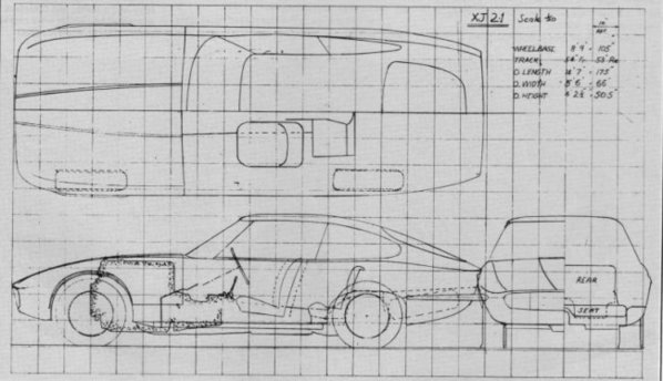 Jaguar XJ21 italian version prototype drawing