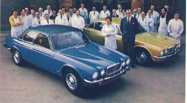 Jaguar XJC prototype #3 with Lofty England and Jaguar factory workers