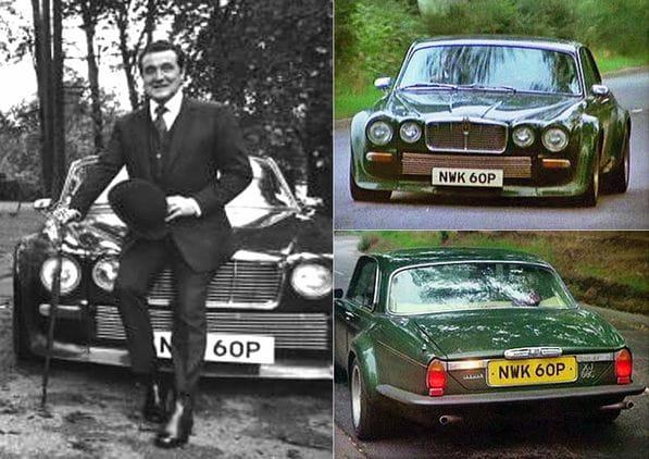 Patrick Macnee and special Jaguar XJC The Big Cat