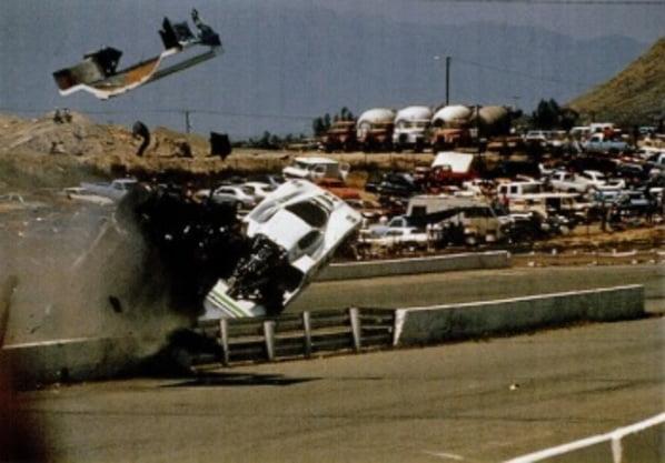 Jaguar XJR-7 crush on Riverside 1987