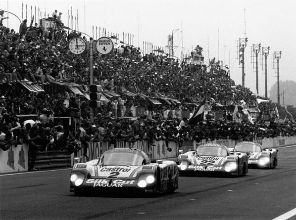 Three Jaguar XJR-9 on Le-Mans 1988